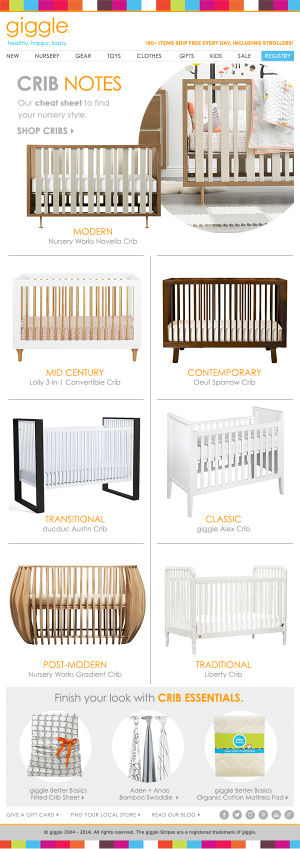 Cribs Email Campaign for giggle
